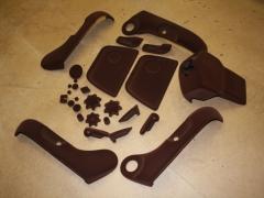 T4 plastic seat parts in chocolate flock