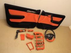 Door cards & interior parts flocked in orange and black